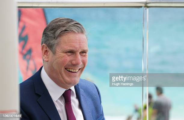 Labour Leader Sir Keir Starmer during a visit to the Gyllyngvase Beach Cafe where he spoke to local businesses about the impact coronavirus has had...