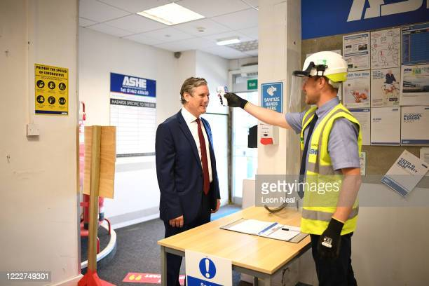 Labour Leader Sir Keir Starmer is temperature checked during a visit to Stevenage town Centre on June 25, 2020 in Stevenage, England.