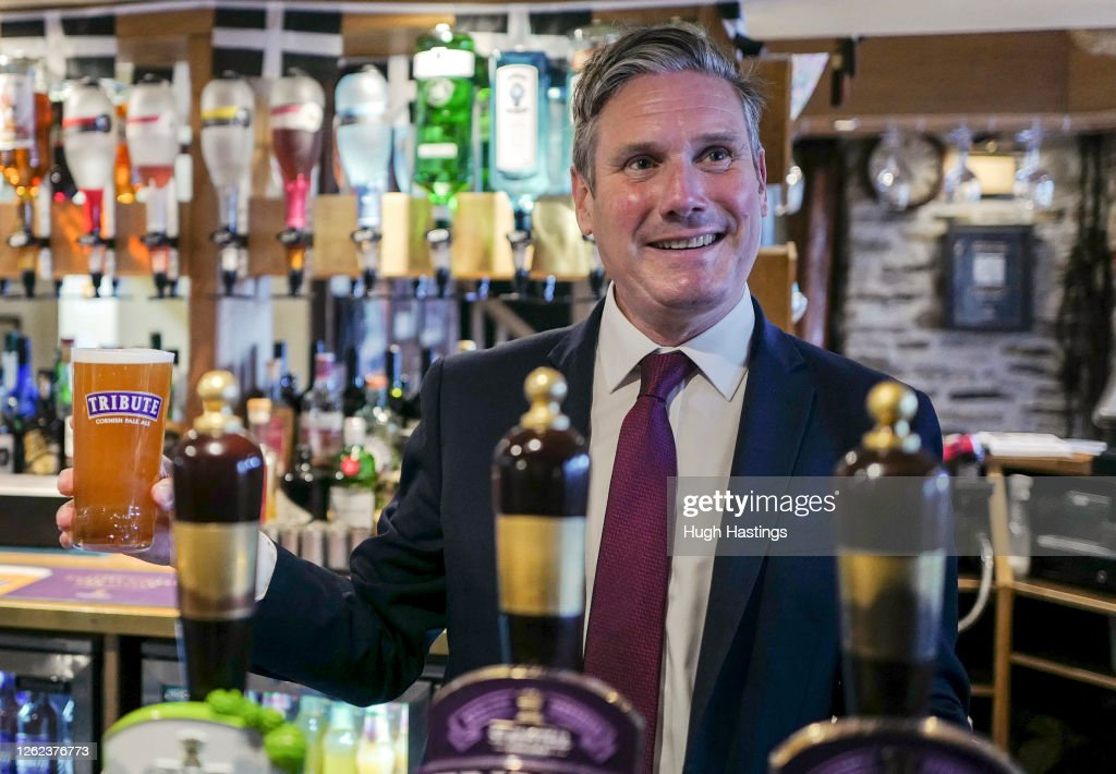 Keir Starmer Visits Seafront Tourist Businesses in Falmouth To Discuss The Impact Of Covid-19 : News Photo