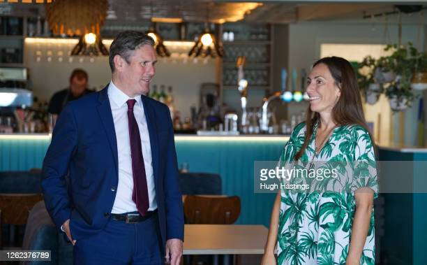 Labour Leader Sir Keir Starmer talks to retailers in Falmouth where he spoke to local businesses about the impact coronavirus has had on them on July...
