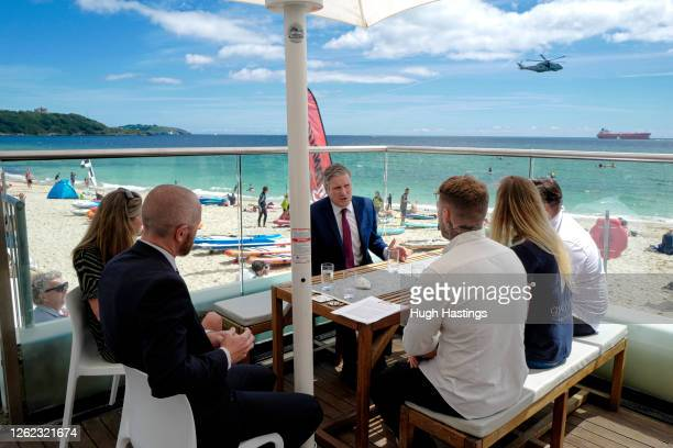 Labour Leader Sir Keir Starmer visits to the Gyllyngvase Beach Cafe where he spoke to local businesses about the impact coronavirus has had on them...