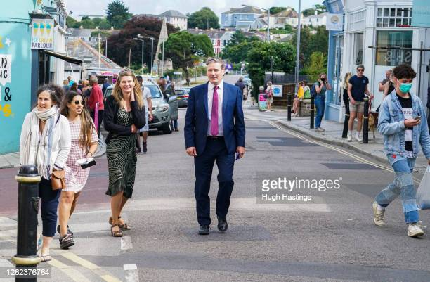 Labour Leader Sir Keir Starmer walks through Arwenack Street in Falmouth where he spoke to local businesses about the impact coronavirus has had on...