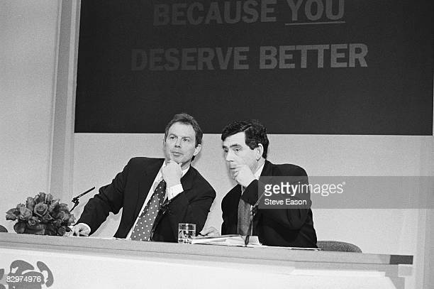 Labour leader Tony Blair with Shadow Chancellor Gordon Brown at a Labour Party press conference during the party's general election campaign 29th...