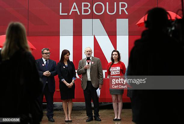 Labour leaderJeremy Corbyn speaks as he launches the Labour In for Britain EU campaign battle bus with Gloria De Piero Shadow Minister for Young...