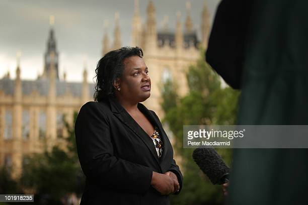 Labour leadership candidate Dianne Abbott gives an interview as she walks near Parliament on June 9 2010 in London England A ballot will be taken of...