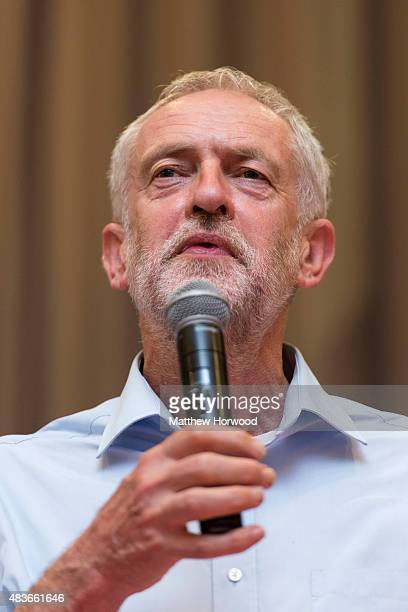 Labour leadership candidate Jeremy Corbyn attends a rally at the Mercure Cardiff Holland House Hotel on August 11 2015 in Cardiff Wales Earlier he...