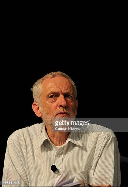 Labour leadership candidate Jeremy Corbyn on stage at the Labour leadership hustings in Citywest hotel on June 9 2015 in Dublin Ireland A Labour...