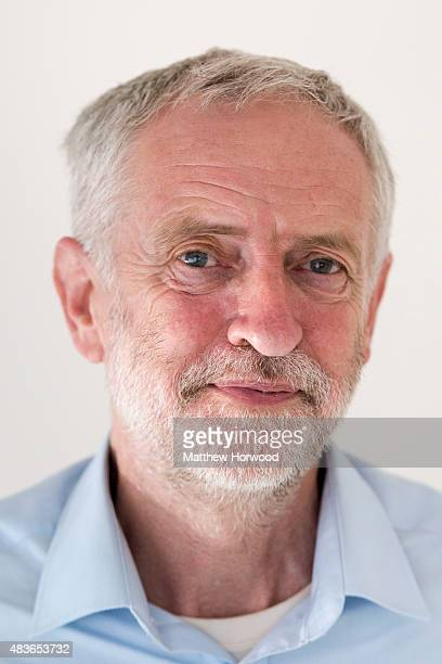 Labour leadership candidate Jeremy Corbyn speaks to the press ahead of a rally at the Mercure Holland House hotel on August 11 2015 in Cardiff Wales...