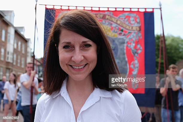 Labour leadership candidate Liz Kendall joins the march with the Fishburn Colliery Banner from Sedgefield during the annual Durham Miners Gala on...