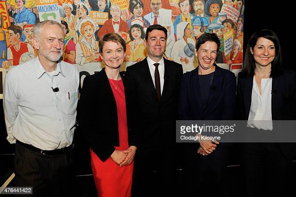 Labour leadership candidates Jeremy Corbyn Yvette Cooper Andy Burnham Mary Creagh and Liz Kendall on stage at the Labour leadership hustings in...