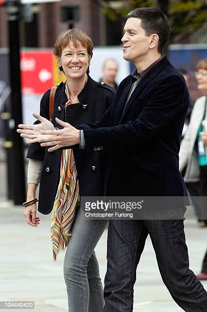 Labour leadership contende David Miliband and his wife Louise Shackleton arrive for the annual Labour Party Conference on September 25 2010 in...