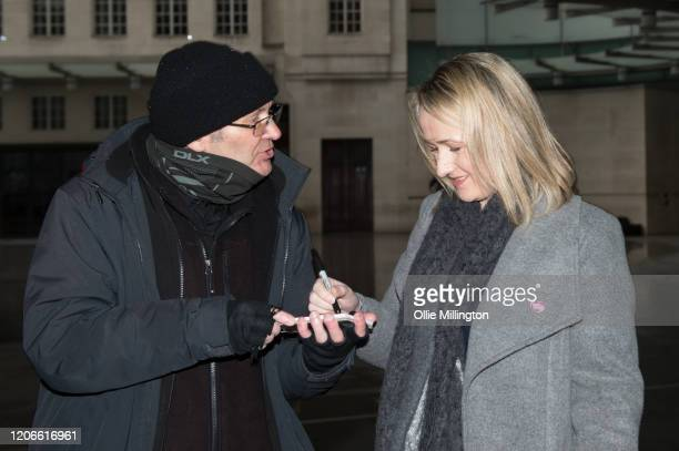 Labour leadership contender and Shadow Business Secretary Rebecca LongBailey signs an autograph as she leaves BBC Broadcasting house after attending...