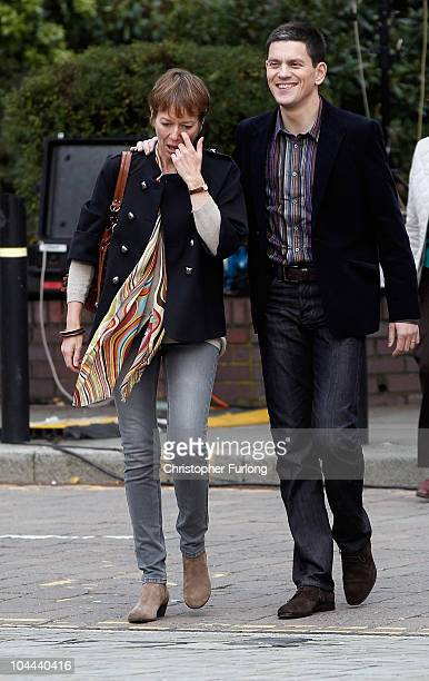 Labour leadership contender David Miliband and his wife Louise Shackleton arrive for the annual Labour Party Conference on September 25 2010 in...