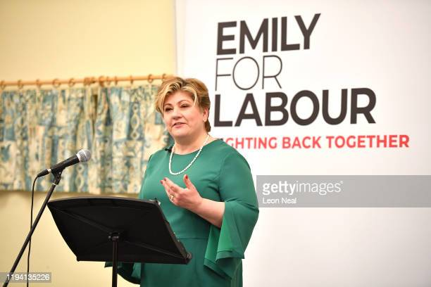 Labour Leadership Contender Emily Thornberry speaks on stage during her Leadership Campaign Launch at Guildford Waterside Centre on January 17 2020...