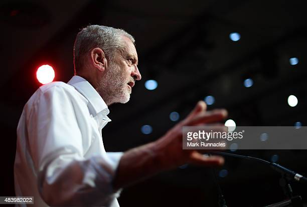 Labour Leadership hopeful Jeremy Corbyn delivers a speech during his campaign in Scotland at the Edinburgh International Conference Centre on August...
