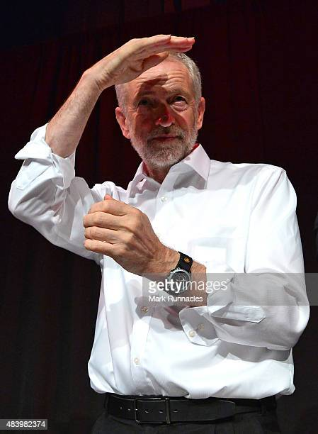 Labour Leadership hopeful Jeremy Corbyn peers out to his audience during his campaign in Scotland at the Edinburgh International Conference Centre on...