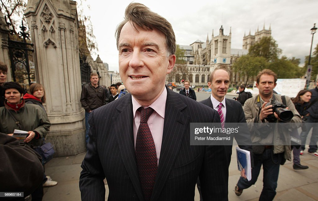Labour Lord Mandelson (C) and Lord Adonis (R) walk from Parliament on May 11, 2010 in London, England. British Prime Minister Gordon Brown has announced that he is to stand down as Prime Minister and Labour Party leader, adding that negotiations with the Liberal Democrats are now taking place to try and form a coalition government. Meanwhile David Cameron said that it is decision time for the Liberal Democrats to choose which party to form a Government with.