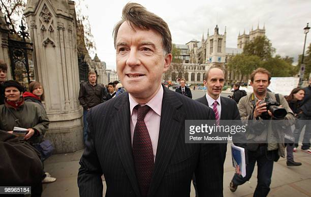 Labour Lord Mandelson and Lord Adonis walk from Parliament on May 11 2010 in London England British Prime Minister Gordon Brown has announced that he...