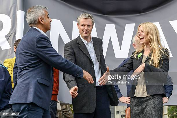 Labour Mayoral candidate Sadiq Khan, Conservative Mayoral candidate Zac Goldsmith and Green Party Mayoral candidate Sian Berry attend a rally against...