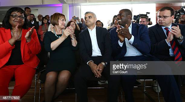 Labour Member of Parliament for Tooting and London mayoral candidate Sadiq Khan is congratulated by fellow candidates Diane Abbott Tessa Jowell David...