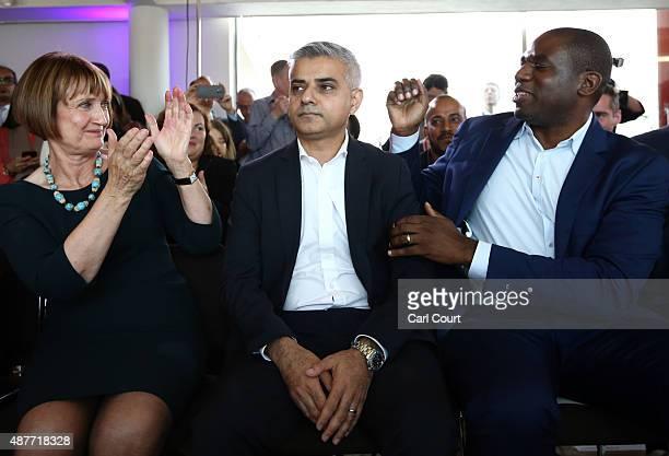 Labour Member of Parliament for Tooting and London mayoral candidate Sadiq Khan is congratulated by fellow candidates Tessa Jowell and David Lammy...