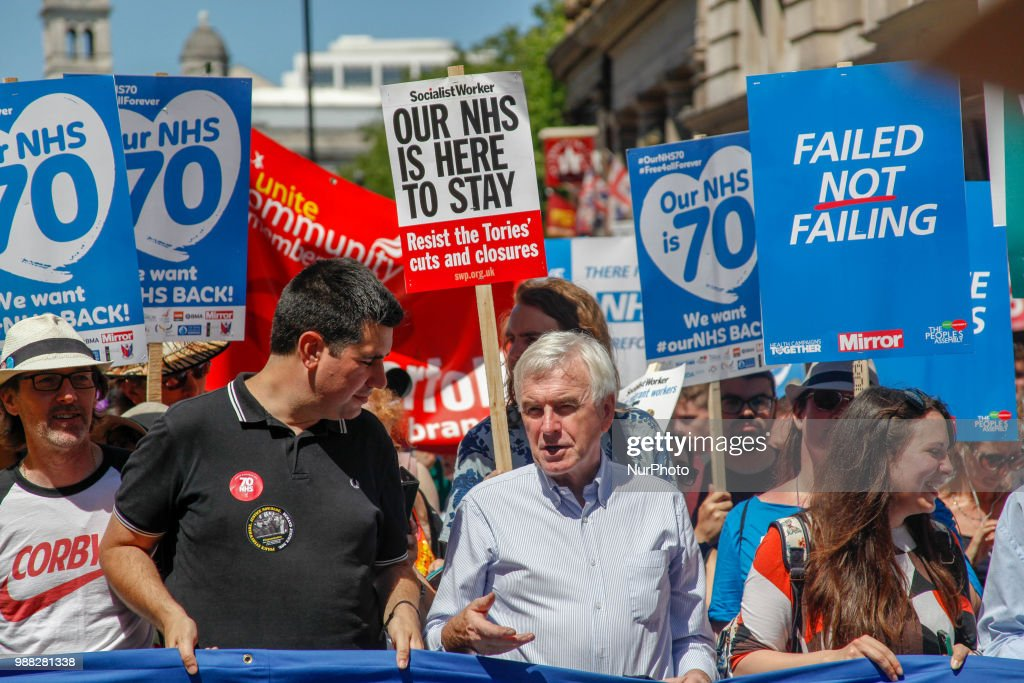 Labour MP and Shadow Chancellor John McDonnell takes part at a demonstration and celebration march to mark the 70th anniversary of the National Health Service (NHS), in central London on June 30, 2018. Thousands of demonstrators took to marching in Central London on June 30, 2018 to mark the 70th Birthday of the NHS and protest against cuts to the service by the Conservative Government.