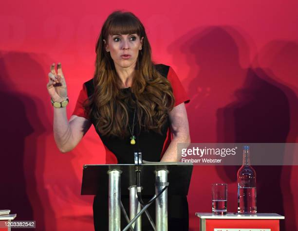 Labour MP Angela Rayner speaks at the party deputy leadership hustings at Ashton Gate Stadium on February 01 2020 in Bristol England Five candidates...