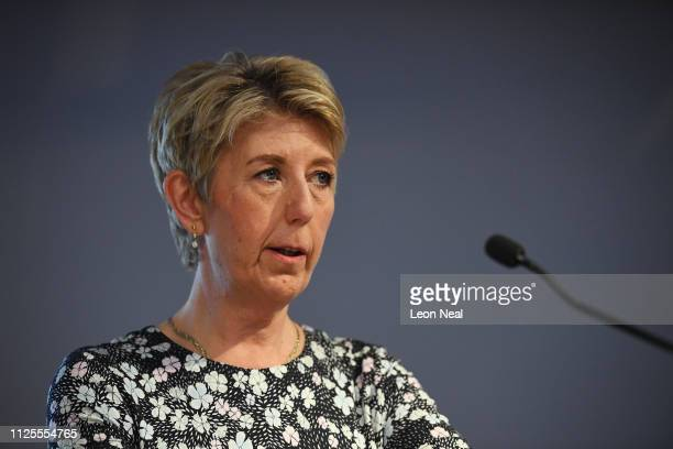 Labour MP Angela Smith announces her resignation from the Labour Party at a press conference on February 18 2019 in London England Chuka Umunna MP...