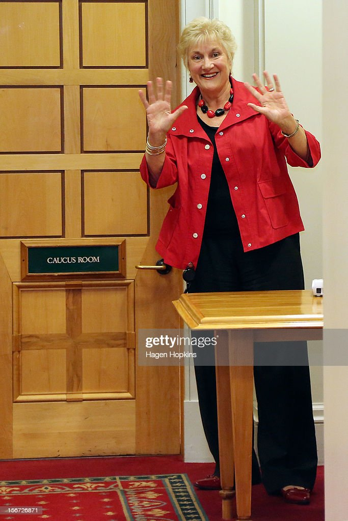 Labour MP Annette King waves to media while a Labour leadership meeting takes place at Parliament on November 20, 2012 in Wellington, New Zealand. Labour party members were called to a leadership vote meeting today after speculation of a leadership challenge by economic development spokesman David Cunliffe.