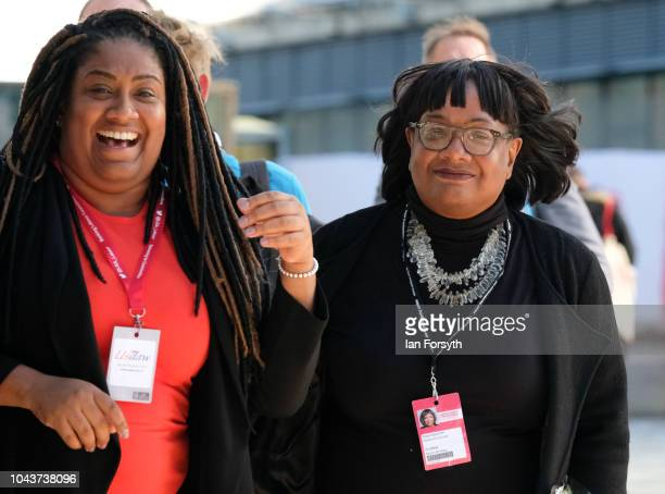 Labour MP Bell Ribeiro-Addy and Diane Abbott , Shadow Home Secretary attend day two of the Labour Party Conference on September 24, 2018 in...