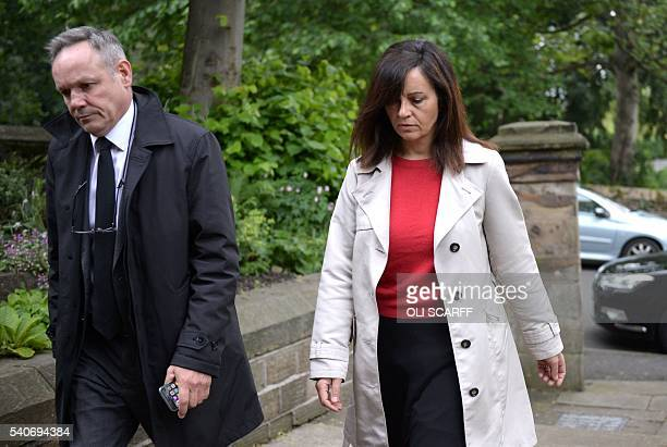 Labour MP Caroline Flint arrives at St Peters church in Birstall to attend a vigil to slain Labour MP Jo Cox on June 16 2016 Cox died today after a...