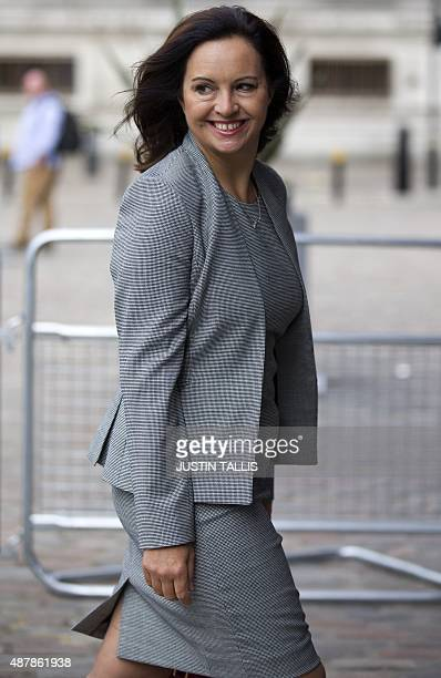 Labour MP Caroline Flint arrives to attend the ballot result for the new Labour leader in London on September 12 2015 Voting closed September 10 2015...