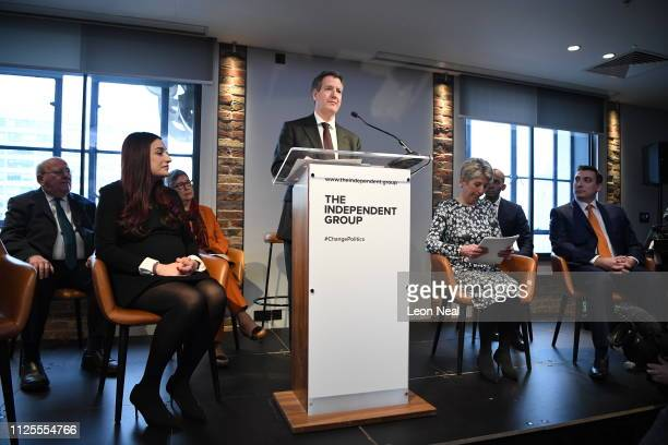 Labour MP Chris Leslie announces his resignation from the Labour Party at a press conference on February 18 2019 in London England Chuka Umunna MP...