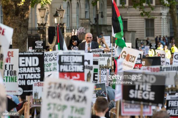 Labour MP Chris Williamson addresses emergency protest outside Downing Street in central London against Israel's response to demonstrations in Gaza...