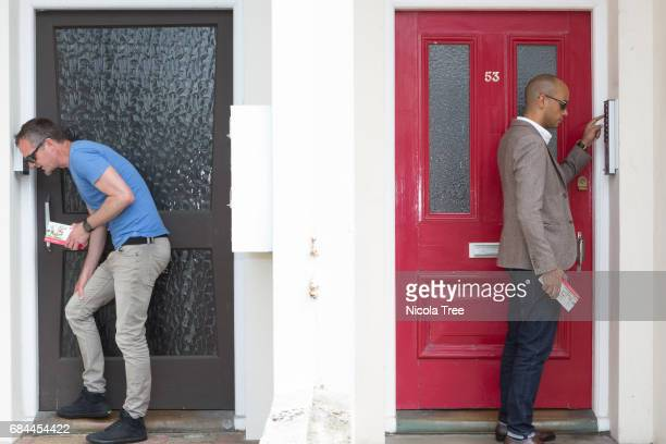 Labour MP Chuka Umunna and local Labour candidate Peter Kyle campaign and door knock in the constituency on May 16 2017 in Hove Brighton England...