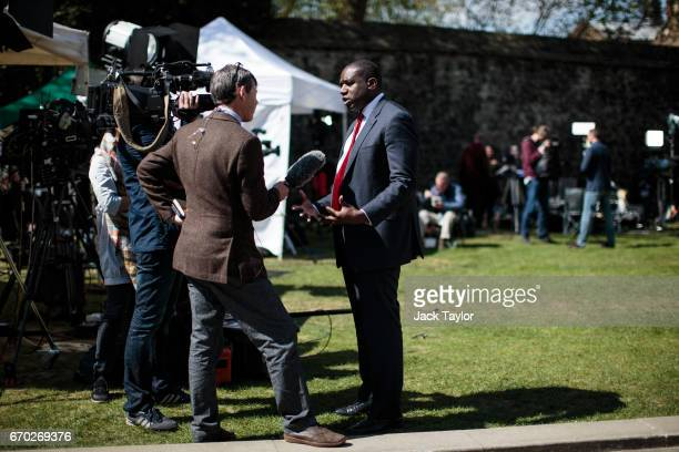 Labour MP David Lammy gives an interview as members of the media assemble on College Green outside the Houses of Parliament on April 19 2017 in...