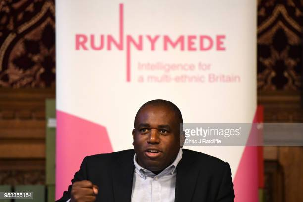 Labour MP David Lammy meets representatives of the Windrush generation at the House of Commons on May 1 2018 in London England Residents from the...