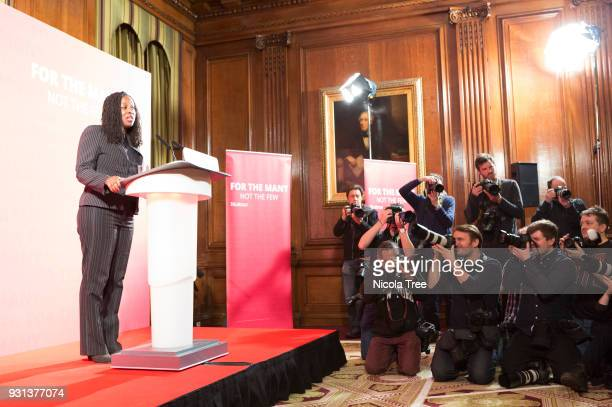 Labour MP Dawn Butler introduces shadow secretary John McDonnell's speech to end Austerity at 1 George street on March 09 2018 in London England