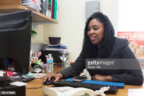 Labour MP Dawn Butler minister for Women and Equalities in her Westminster office working on her computer on March 09 2018 in London England