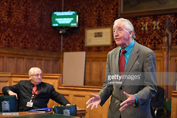Labour MP Dennis Skinner addresses members of the Orgreave Truth and Justice Group at The Palace of Westminster on September 13 2016 in London...