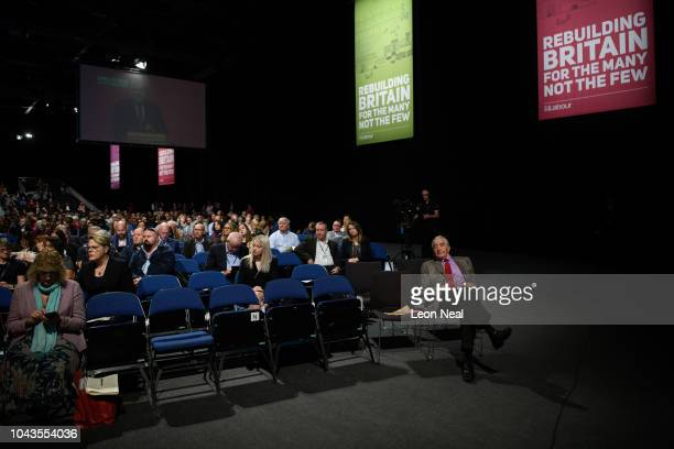 Labour MP Dennis Skinner listens to speeches in the Exhibition Centre Liverpool during day two of the annual Labour Party conference on September 24...