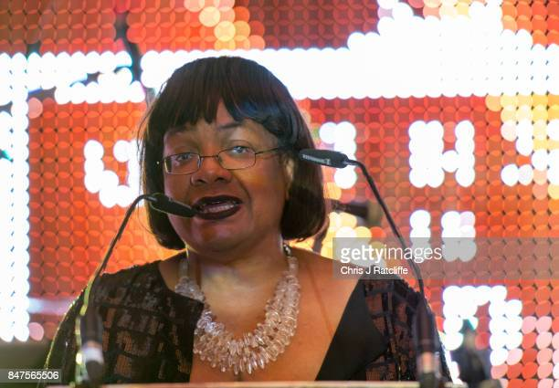 Labour MP Dianne Abbott speaks on stage after winning the icon of the year award at the Diversity in Media Awards on September 15 2017 in London...