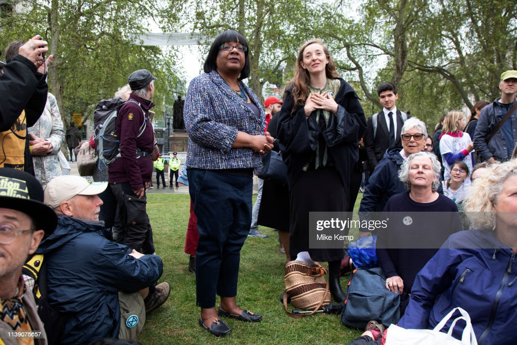 GBR: Diane Abbott MP Speaks To Extinction Rebellion Climate Change Protesters