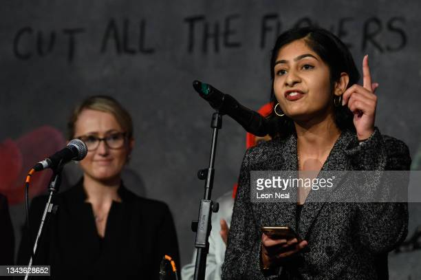 Labour MP for Coventry South Zarah Sultana addresses an audience at a fringe event for political festival The World Transformed, on the fourth day of...