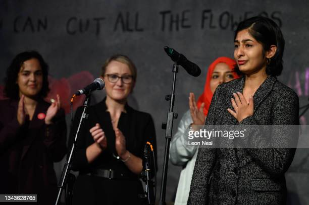 Labour MP for Coventry South Zarah Sultana reacts as she addresses an audience at a fringe event for political festival The World Transformed, on the...