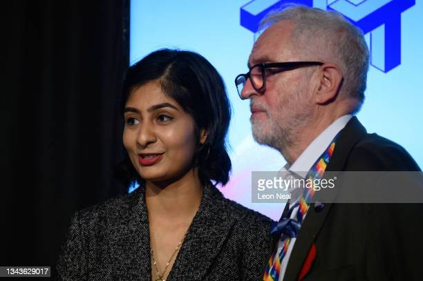 Labour MP for Coventry South Zarah Sultana speaks with former Labour Party leader Jeremy Corbyn after addressing an audience at a fringe event for...