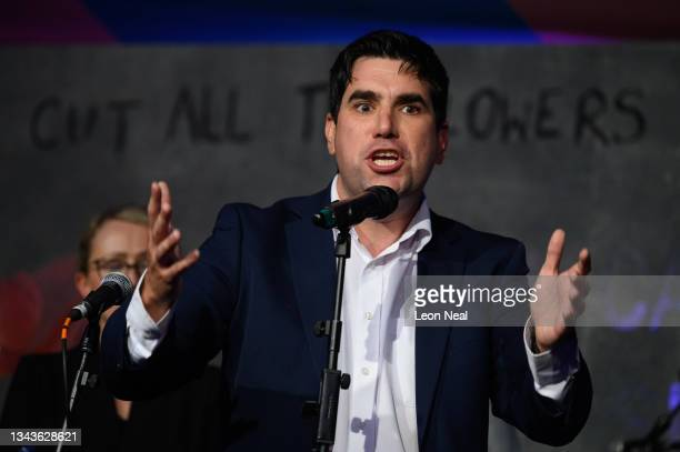 Labour MP for East Leeds and Secretary of the Socialist Campaign Group of Labour MPs Richard Burgon addresses an audience at a fringe event for...