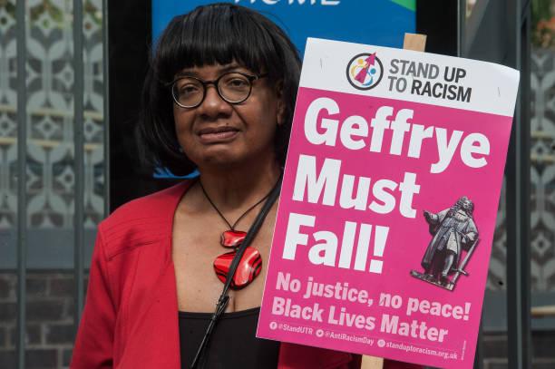 GBR: Diane Abbott Attends Geffye Must Fall Rally