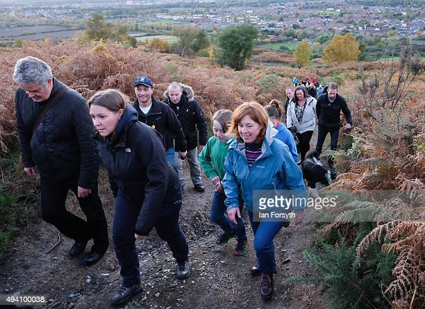 Labour MP for Redcar Anna Turley walks with hundreds of people during a procession to the top of the Eston Hills on October 24 2015 in Eston...