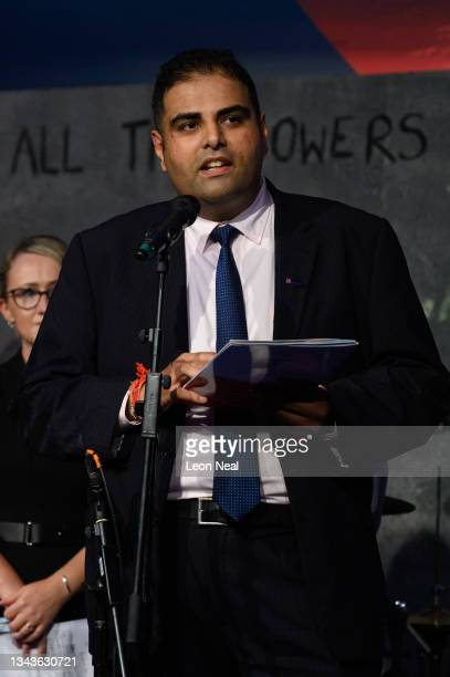 Labour MP for Stockport Navendu Mishra addresses an audience at a fringe event for political festival The World Transformed, on the fourth day of the...